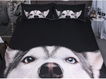 Siberian Husky 3-Piece 3D Animal Printed Bedding Sets/Duvet Cover Sets
