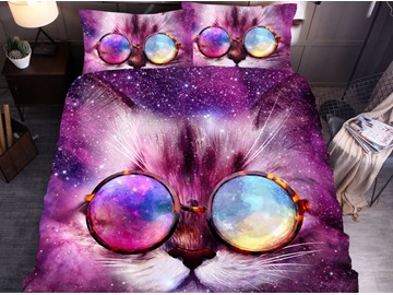 Galaxy Cat 3D Printed Polyester 3-Piece Black Duvet Cover Set with 2 Pillowcases