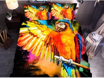 Colorful Parrot 3D Printed Polyester 3-Piece Black Duvet Cover Set with 2 Pillowcases