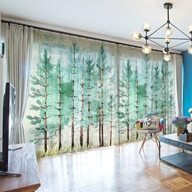 3D Carton Green Forest Scene Printed Decorative 2 Panels Custom Sheer